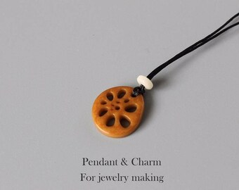 Tagua nut Handcrafted Lotus Root Necklace Pendant
