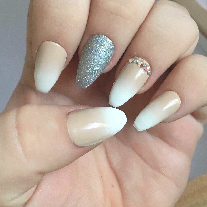 Coffin Nails Ballerina nackt Ombre falsche Nägel weißen