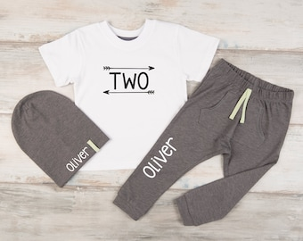 Second Birthday Boy Outfit, Boy's 2nd Birthday Shirt, Personalized Joggers / Beanie, Two Year Old Birthday Shirt Boy, Second Birthday Gift