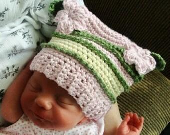 155 PDF  Sweet Flower Point Hat Crochet Pattern