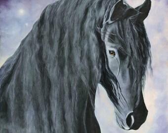 Horse Print, Horse Poster, Black Horse Art Print Poster, Wall Art, Home Decor, Wall Decor