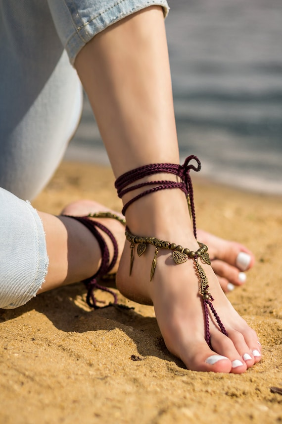 sandals sandals barefoot Anklet Feathers clothing Boho Bare jewelry sandals Soleless Bottomless Beach Foot Festival sandals wedding foot HR7xAd7Xq