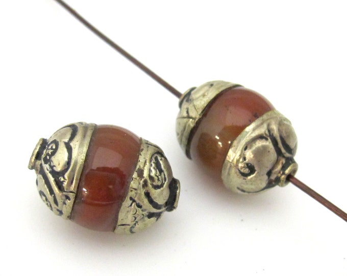 2 Beads  - Tibetan silver capped carnelian agate beads from Nepal 19 -20  mm x 13 -14 mm - BD907