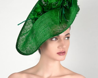 """Emerald Green Wavy Slice Saucer Silk Floral Headpiece """"Fern"""" Hat for the Races Royal Ascot Melbourne Cup Kentucky Derby Hatinator Bright"""