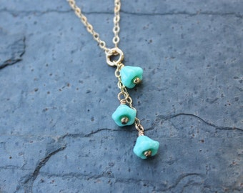 Bluebell necklace - tiny milky turquoise glass flowers on 14k gold filled chain - aqua blue flower - free shipping in USA