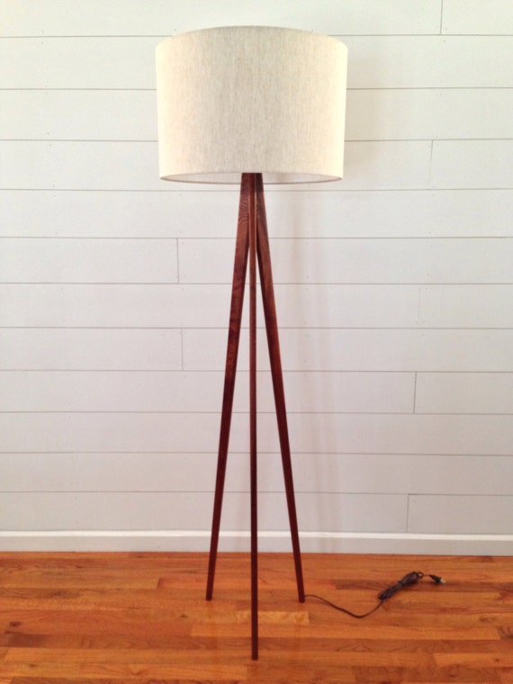 Floor Lamp Tripod Mahogany Wood