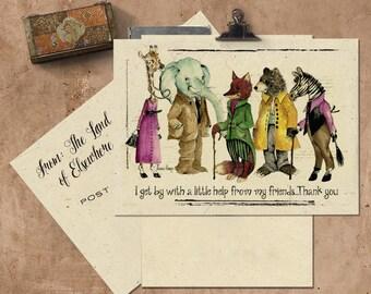 Animal Friends Handmade Seeded Paper Card.