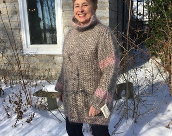 Handmade Crochet Mohair Wool Ski Sweater Crochet Original Design Snug and Warm!