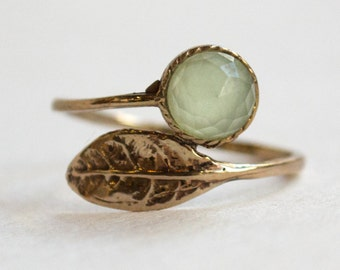 Adjustable ring, delicate ring, Thin ring, simple leaf ring, bronze ring, dainty ring, jade ring, gemstone ring - Gone with the wind RC2062