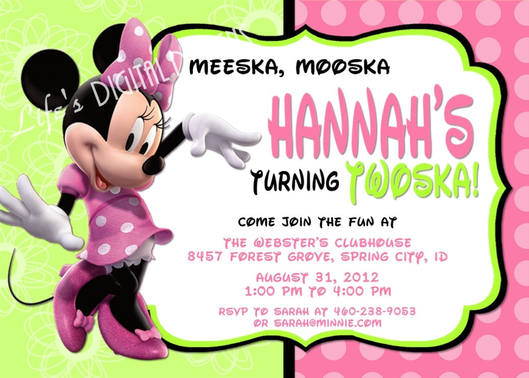 Minnie Mouse Birthday Invitations Green Pink Photo Option