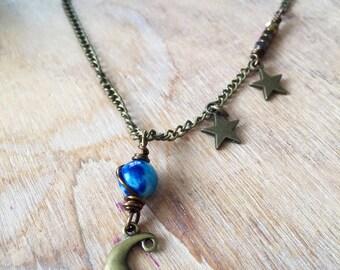 Moon Stars Necklace. Gemstone necklace with Crescent moon. Jasper Hematite beads & moon pendant. Moonchild necklace. Healing Jewelry. Custom