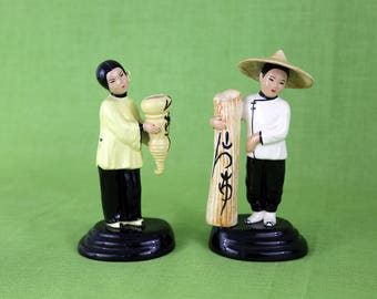 Vintage Pair: Ceramic Asian Man and Woman Figurines/Vases