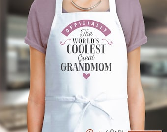 Great Grandmom Gift, Birthday Gift For Great Grandmom! Funny Apron, Coolest Great Grandmom, Cooking, Personalized, Present Great Grandmom