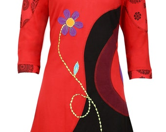 Ladies V-Neck 3/4 Sleeve Dress with Flower Embroidery