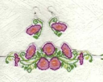 Beaded Poppy Bracelet and Earring Set
