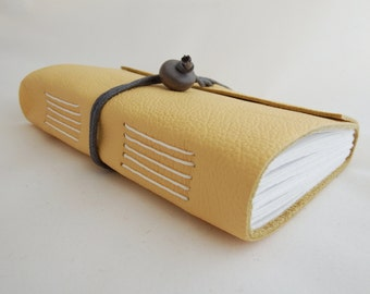 Yellow Leather Wrap Journal, Hand Bound Leather Notebook, Travel Journal, Writing Memory Journal, Leather Scrapbook, Mindfulness Journal,