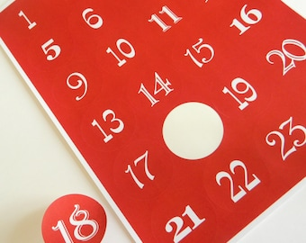 Red Advent Calendar Stickers for Christmas Crafts ~ Traditional Red ~ Numbers 1 to 24 ~ Red with white numbers