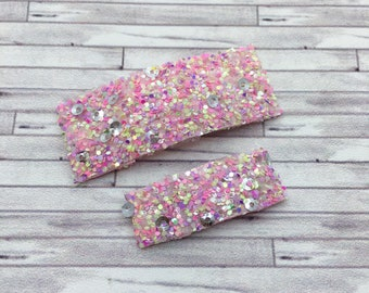 Hibiscus Sequin Glitter Snap Hair Clips /  Glitter Mini Snap Hair Clips / Snap Clips / Summer Snap Clip