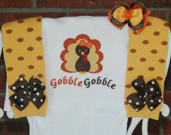 Baby Girl Thanksgiving Outfit! Gobble gobble turkey outfit with applique bodysuit, leg warmers, and hair bow!