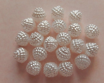 20  Shiny Snow White Textured Pearl Bicone Acrylic Resin Beads  8mm