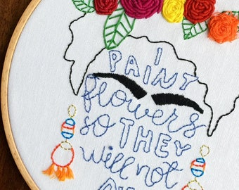 Frida Hand Embroidery Hoop Art- Wall Hanging - Frida Art