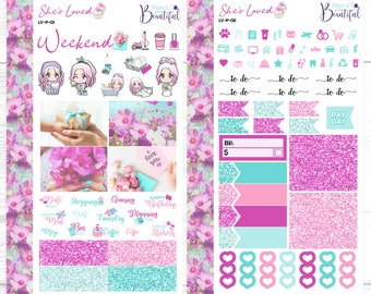 She's Loved - Personal Weekly Kit - Removable Vinyl (Matte) - Planner Stickers