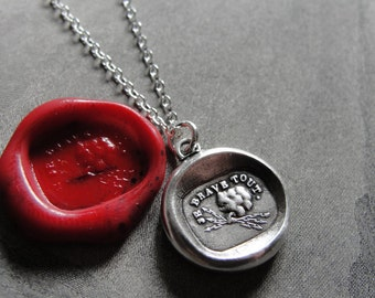 I Defy Wax Seal Necklace Zeus Thunderbolt antique wax seal charm jewelry French Courageous Daring motto by RQP Studio