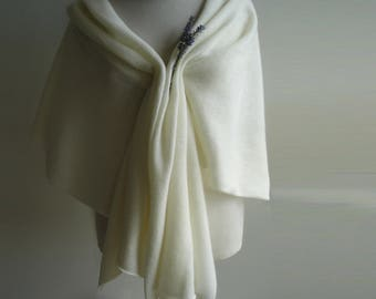 Bridal Shawl / Wrap / Wedding Cover Ups - Knitted in Lambswool - Colour Creamy White