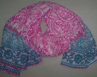 Square Scarf Indian Sari Scarf Paisley Scarf Pink White Scarf