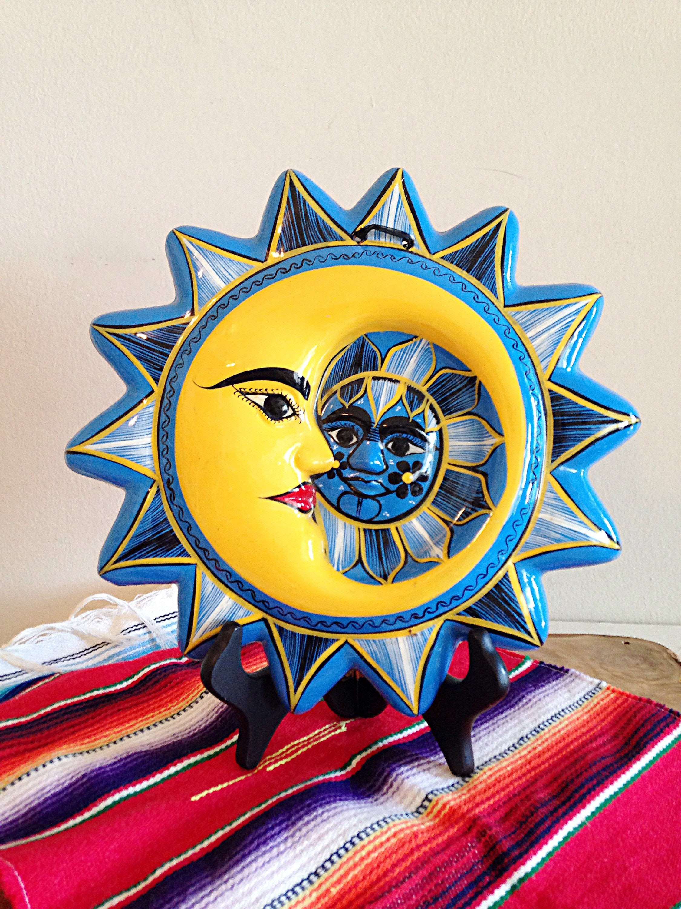 Beautiful Blue and Yellow Celestial Sun and Moon Mexican Folk