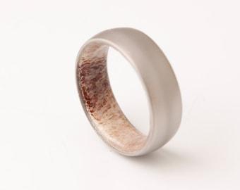Antler ring // titanium antler ring //Antler Wedding Band // antler man woman ring