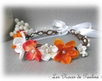 Orange and white wedding Orchid Fascinator witness bridesmaid flower Crown