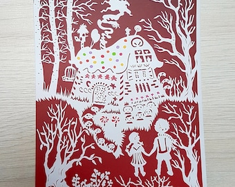Postcard, Art Print, Mini Art, Hansel and Gretel, Papercutting, Kid's Room Art