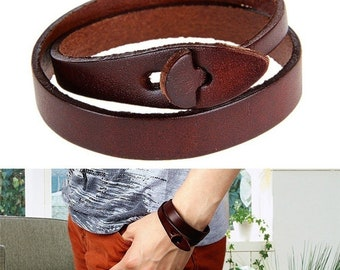 Natural leather bracelet without metal-for people with a metal allergy