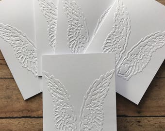 Angel Wings Card Set, White Embossed Cards, Stationery Set, Greeting Cards, Religious Holiday Card Set, Blank Note Cards and Envelopes