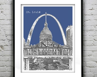 St. Louis Poster City Skyline Art Print Missouri MO St. Louis Arch Version 3