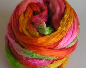 Silk Top Roving Sliver Top cultivated mulberry fiber TUTTI FRUITTI Phat Fiber Feature Luxurious Quality Hand Painted for Handspinning 2 oz