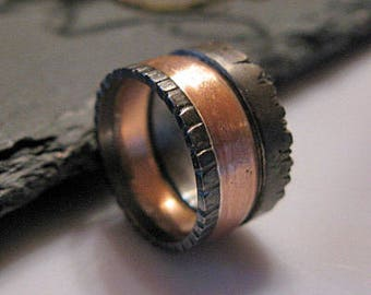 Viking Ring Rustic Mens Wedding Band Viking Wedding Ring Unique Mens Wedding Band Mens Wedding Rings Mens Wedding Bands Black Gold Ring Mens