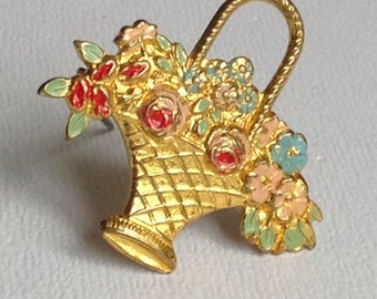 Flower Basket Brooch Pin - Enamel & Gold Plated Pressed Metal - Gifts for Her