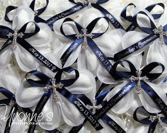 "Jordan Almond Bombonieres (Confetti Flower)- Communion/Baptism/Christening w/Personalized Ribbon, Rhinestone Cross, ""Italian-Inspired"" Favor"