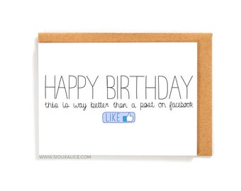 Funny birthday card, facebook card greetings card friend brother sister mum mother dad happy birthday celebration getting old cards
