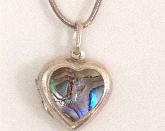 Heart Double Locket Pendant Necklace Abalone Inlay 925 Sterling Silver gw16-047