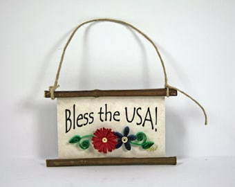 Quilled Magnet 291- Bless the USA, Patriotic Ornament, Party Favor