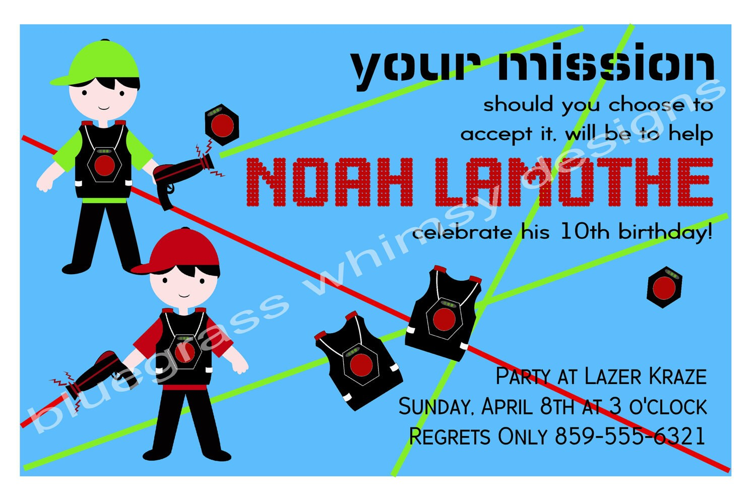 Boy\'s Laser Tag Birthday Party Invitation blue red and