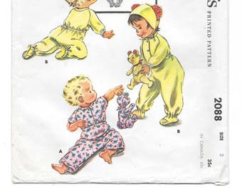 1950s Toddler's SLEEPER ~ CAP ~ Stuffed Toy BEAR ~ Vintage Sewing Pattern ~ McCall's 2088 ~ Baby Hat w/ Bear Ears ~ Toddler Size 2 ~ Uncut