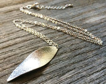 Long silver plated with a simple leaf necklace