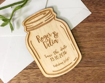 10+ Mason Jar Wooden Save the Date Magnets, Custom Engraved, Rustic Wedding, Country Wedding