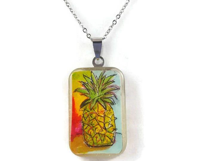 Hand painted pineapple pendant