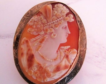 Antique Edwardian 10K Rose Gold Museum Quality Carved Sardonyx Shell Cameo. Massive Italian Renaissance Cameo Brooch Of Flora. Art Nouveau