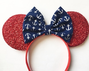 Nautical Anchor Disney Cruise Line Minnie inspired Ears